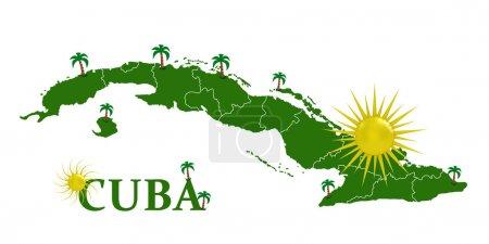 Photo pour Carte de cuba avec les soleil et la paume arbres - image libre de droit