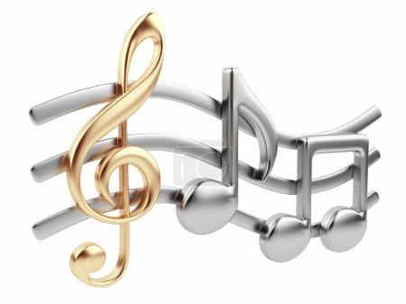 Photo pour Musique métallique note 3d. composition de la musique. isolé sur fond blanc - image libre de droit