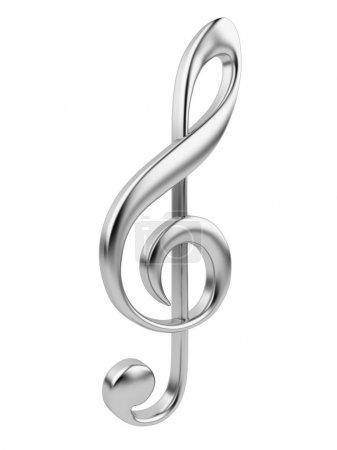 Photo pour Musique métallique note 3d. icône isolé sur fond blanc - image libre de droit