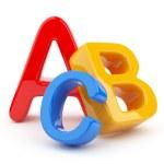 Colorful symbols heap of alphabet. Icon 3D. Educat...
