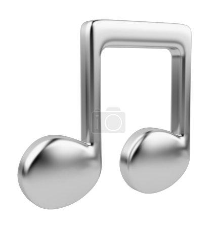 Photo pour Note de musique métallique 3D. Icône isolée sur fond blanc - image libre de droit