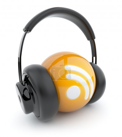 Feed or Rss icon 3D. Blog. Sphere witch audio headphones. Isolat
