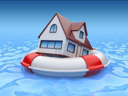 Photo pour Maison en bouée de sauvetage. Concept d'assurance des biens - image libre de droit