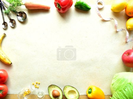 Vegetable,fruit and tape measure