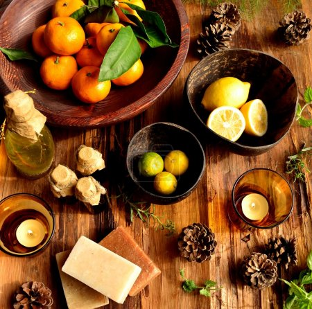 Citrus fruits and aromatherapy supplies