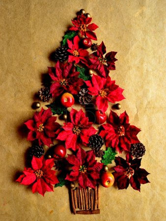 Christmas tree of red poinsettia