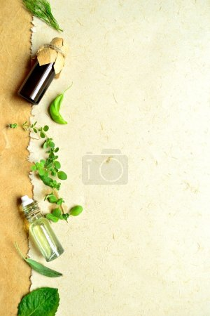 Herb and essential oil bottles