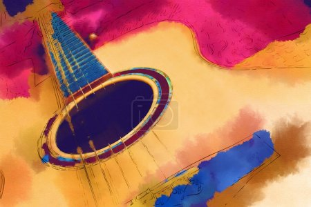Photo for Watercolor illustration with guitar - Royalty Free Image