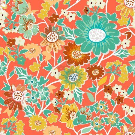 Photo for Seamless vector background with drawing garden flowers - Royalty Free Image