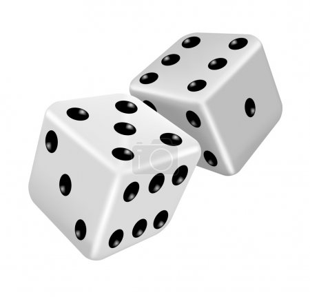 Illustration for Two white dice - Royalty Free Image