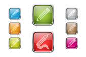Set of vector multicolored glossy rounded square buttons with pencil sign icons