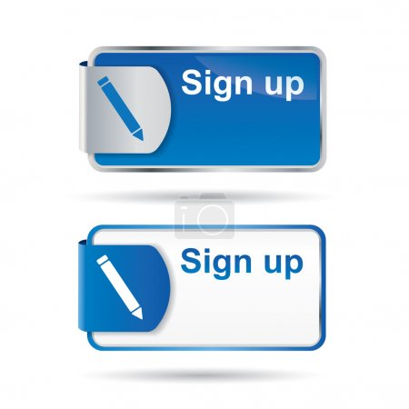 Sign up button or icon with reflective design