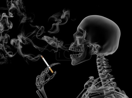 Conceptual 3d render the effects of nicotine smoki...