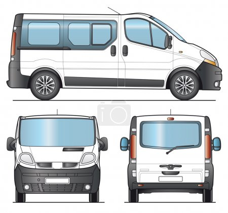 Illustration for Minibus, Minivan combi template - Layout for presentation - vector - Royalty Free Image