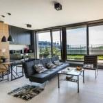 Modern interior design room with panoramic windows