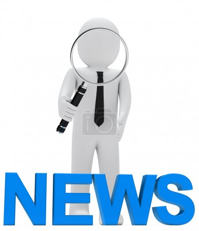 Photo for Businessman look with magnifying glass blue news - Royalty Free Image
