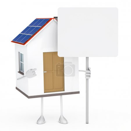 Photo for Solar house figure stand and hold billboard - Royalty Free Image