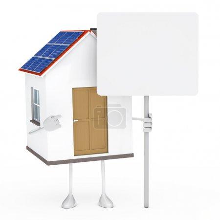 Photo pour Maison solaire figure debout et tenir le panneau d'affichage - image libre de droit