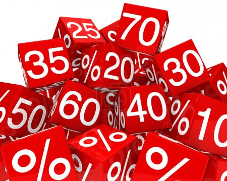 Red sale cubes mountain with white percent...