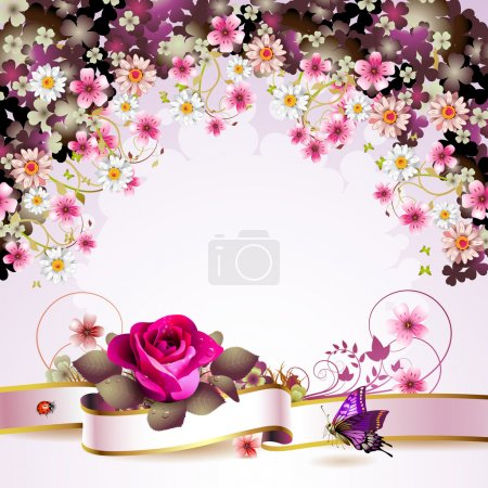 Illustration for Background with flowers and butterflies - Royalty Free Image