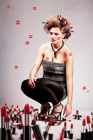 Girl with lipsticks