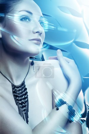 Photo for Beautiful attractive woman with accessorize and virtual interface - Royalty Free Image