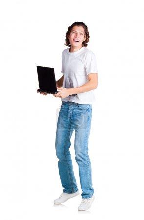 Happy student with laptop