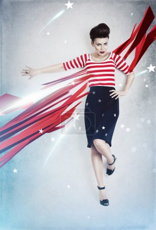 Sexy pinup woman as american flag