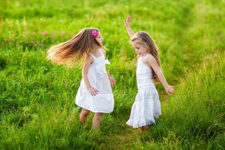 Photo pour Deux belles filles blondes jouant sur Prairie - image libre de droit