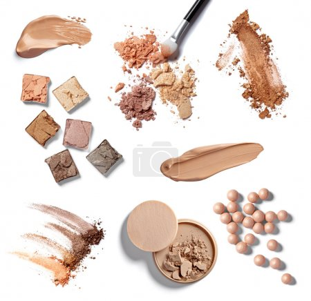 Photo for Collection of various make up powder on white background. each one is shot separately - Royalty Free Image