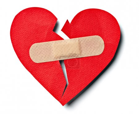 Photo for Close up of aplaster and paper broken heart on white background with clipping path - Royalty Free Image