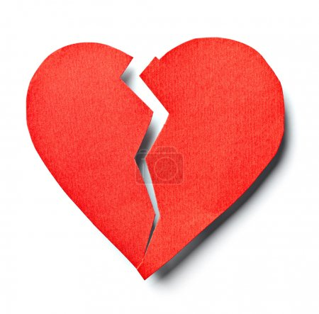 Photo for Close up of a paper broken heart on white background with clipping path - Royalty Free Image