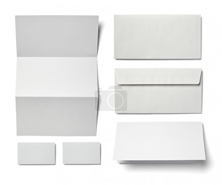Photo for Collection of various blank white paper on white background. each one is shot separately - Royalty Free Image