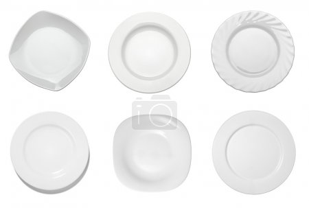 Photo for Collection of empty white plates on white background. each one is shot separately - Royalty Free Image