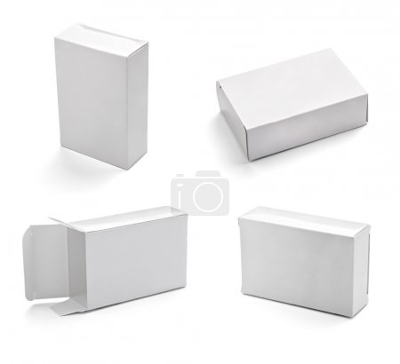Photo for Collection of white box on white background. each one is shot separately - Royalty Free Image