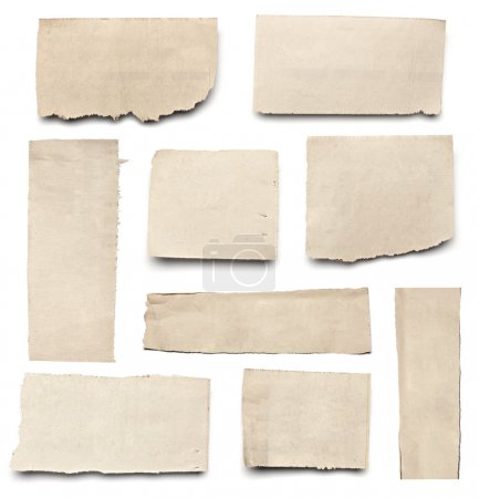 Photo for Collection of white ripped pieces of news paper on on white background. each one is shot separately - Royalty Free Image