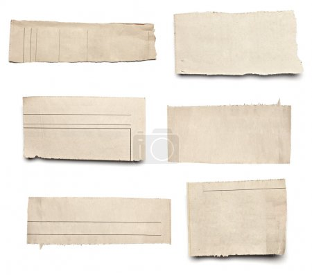 Photo pour Collection de blanc arraché des morceaux de papier de nouvelles sur fond blanc. chacun d'eux est abattu séparément - image libre de droit