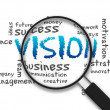 Magnified illustration with the word Vision on whi...