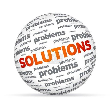 Photo pour Sphére avec les solutions de mot sur fond blanc. - image libre de droit