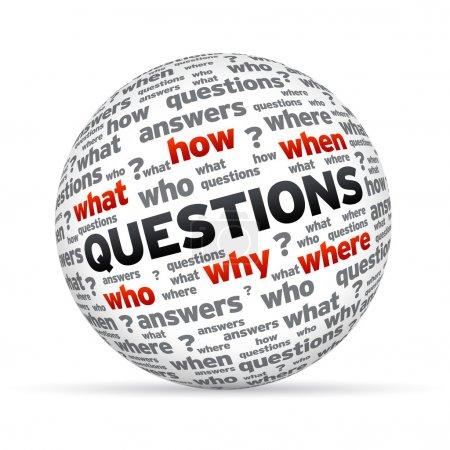 Photo pour Questions 3D sphère isoldated sur fond blanc. - image libre de droit
