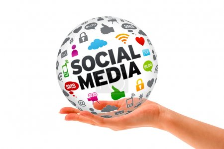 Photo for Hand holding a Social Media 3d Sphere sign on white background. - Royalty Free Image