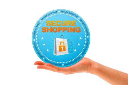Photo pour Main tenant une icône magasinage sécuritaire sur fond blanc. - image libre de droit