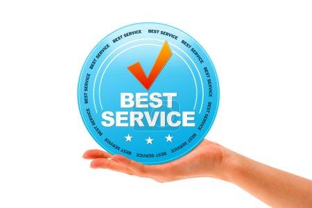 Photo pour Main tenant une icône de service meilleur sur fond blanc. - image libre de droit