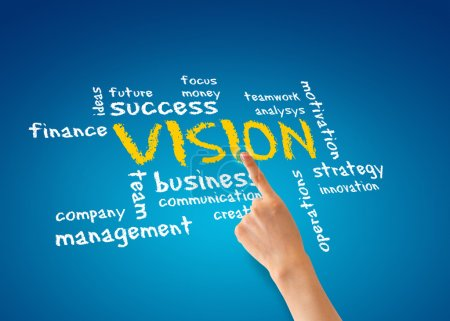 Photo for Hand pointing at a vision word cloud illustration. - Royalty Free Image
