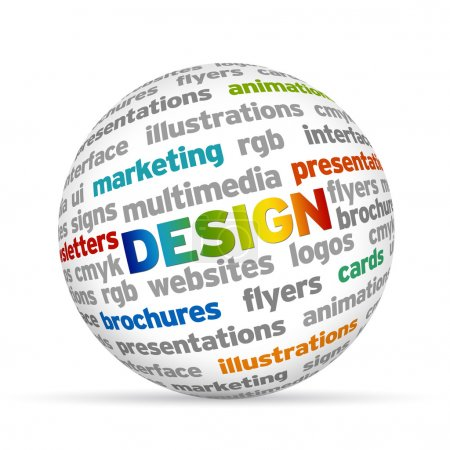 Photo for Colorful 3d Sphere with the word Design. - Royalty Free Image