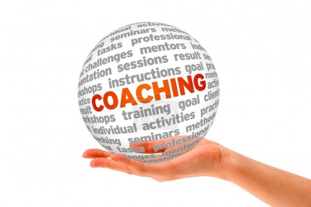 Photo for Hand holding a Coaching 3d Sphere on white background. - Royalty Free Image