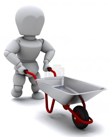 Gardener with a wheel barrow