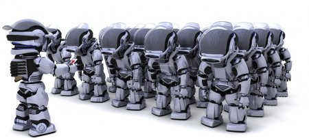 Robot shutting down army of robots