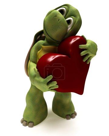 Tortoise Caricature hugging a heart