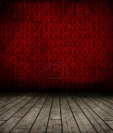 Photo for Grunge interior with wooden floor and antique wallpaper on wall - Royalty Free Image
